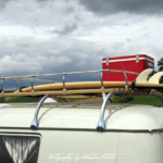 Volkswagen T1 split-window bus with roof rack and surfboards | automotive photography by Sebastian Motsch (2014)