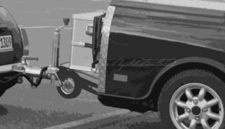 Mini Mk1 with mini-me trailer | Artwork by Sebastian Motsch (2018)