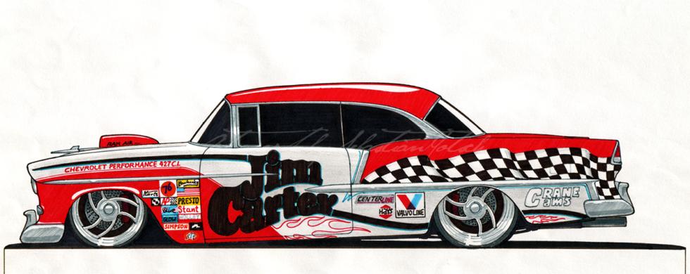 1955 Chevrolet BelAir Racecar | Artwork by Sebastian Motsch (1999)