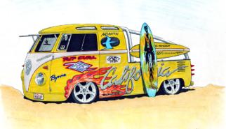Volkswagen T1 DoKa Crew Cab Surfvan | artwork by Sebastian Motsch (2003)