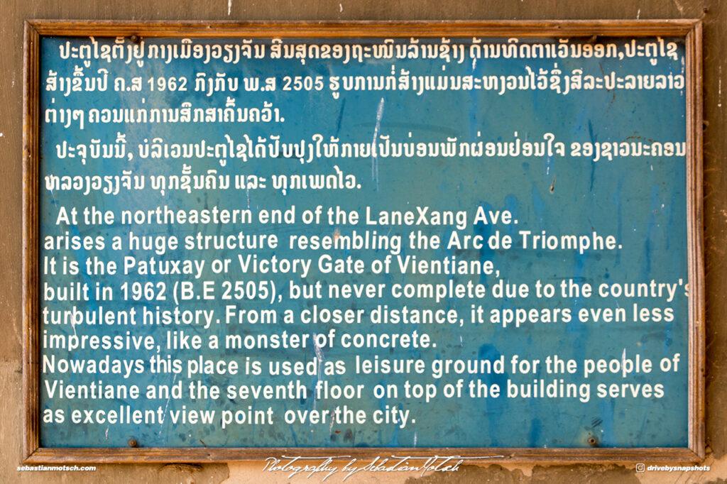 Laos Vientiane Patuxay Plaque Travel Photography by Sebastian Motsch