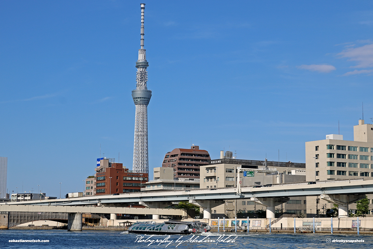 Japan Tokyo Skyline with Skytree on Sumida River by Sebastian Motsch