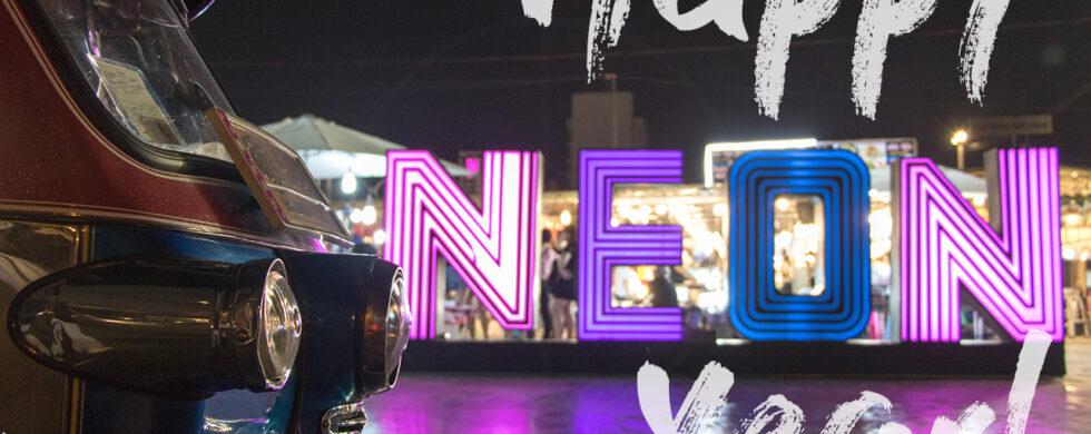 Thailand Bangkok TukTuk Happy New Year 2019 Neon Nightmarket by Sebastian Motsch