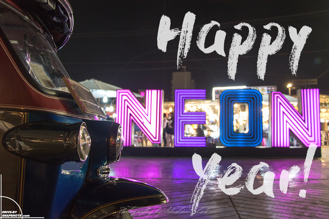 Thailand Bangkok TukTuk Happy New Year 2019 Neon Nightmarket by Sebastian Motsch
