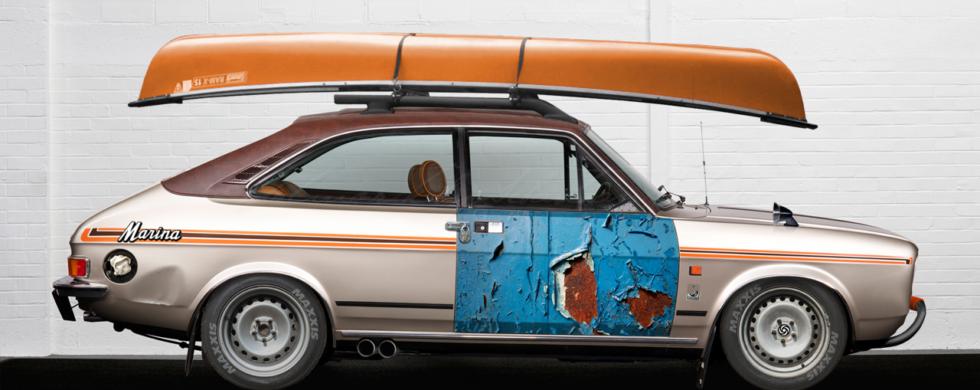 Morris Marina Coupé with Kayak ADO28 photoshop Brexit by Sebastian Motsch