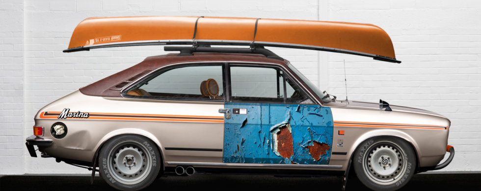 Morris Marina Coupé with Kayak ADO28 photoshop Brexit by Sebastian Motsch