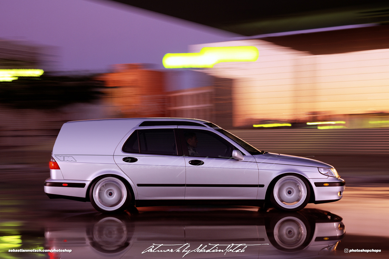 SAAB 9-5 SuperWagon Delivery Van Photoshop by Sebastian Motsch