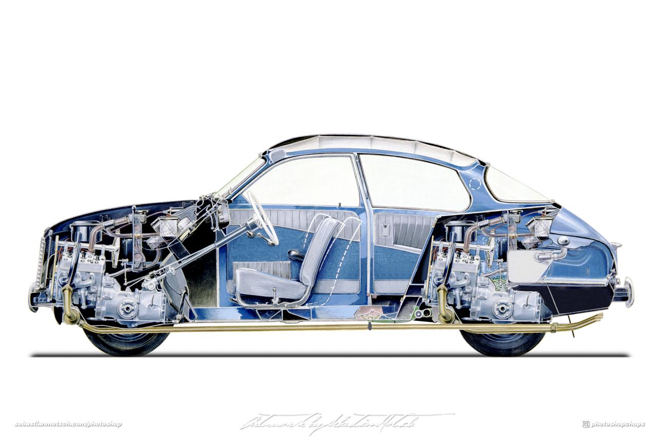 SAAB 96 Tvillingmotor Photoshop by Sebastian Motsch