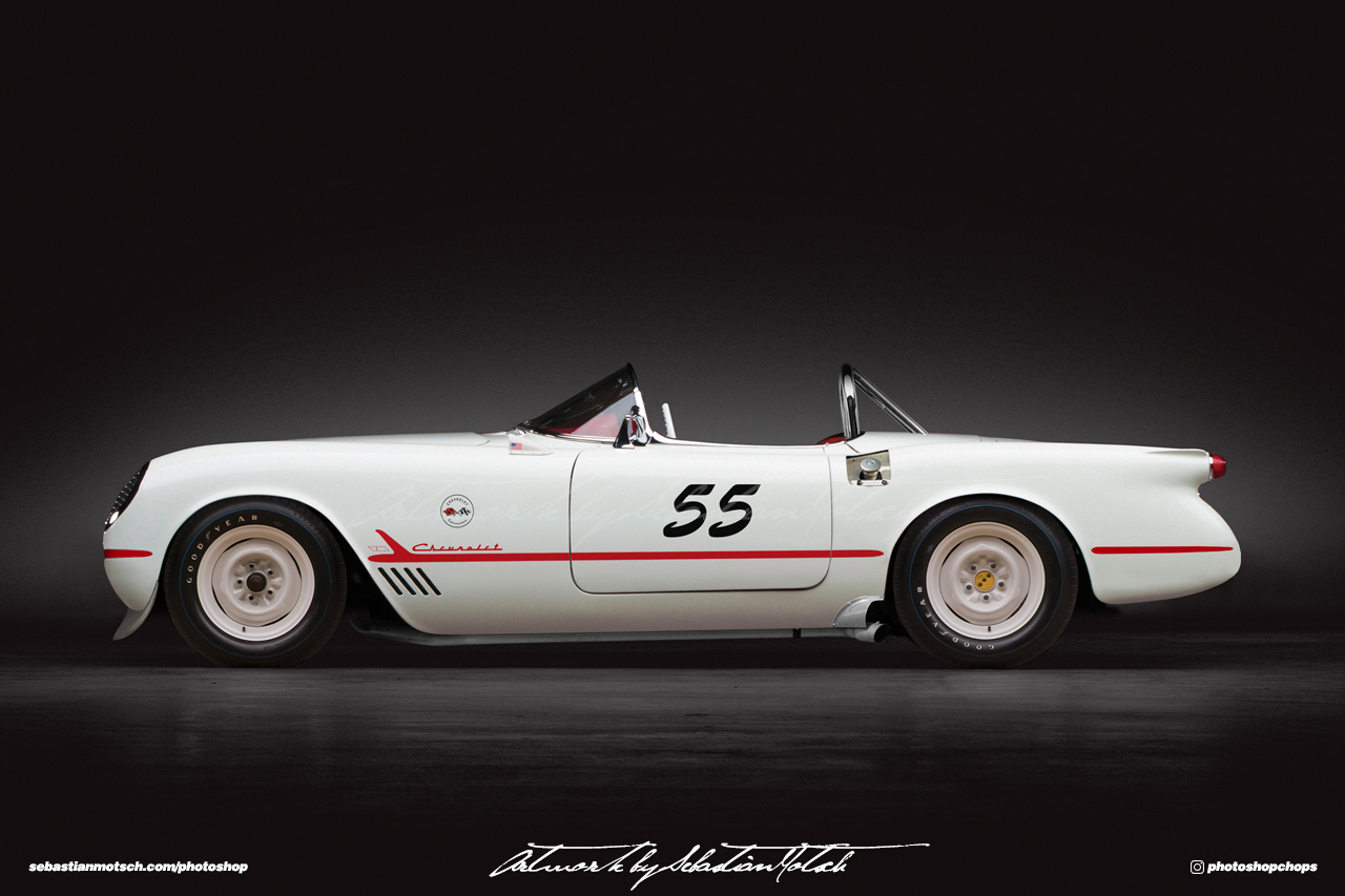 Chevrolet Corvette C1 1955 Racing Photoshop by Sebastian Motsch