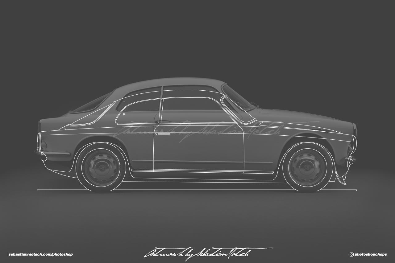 Alfa Romeo Giulietta Sprint Veloce Line Drawing by Sebastian Motsch
