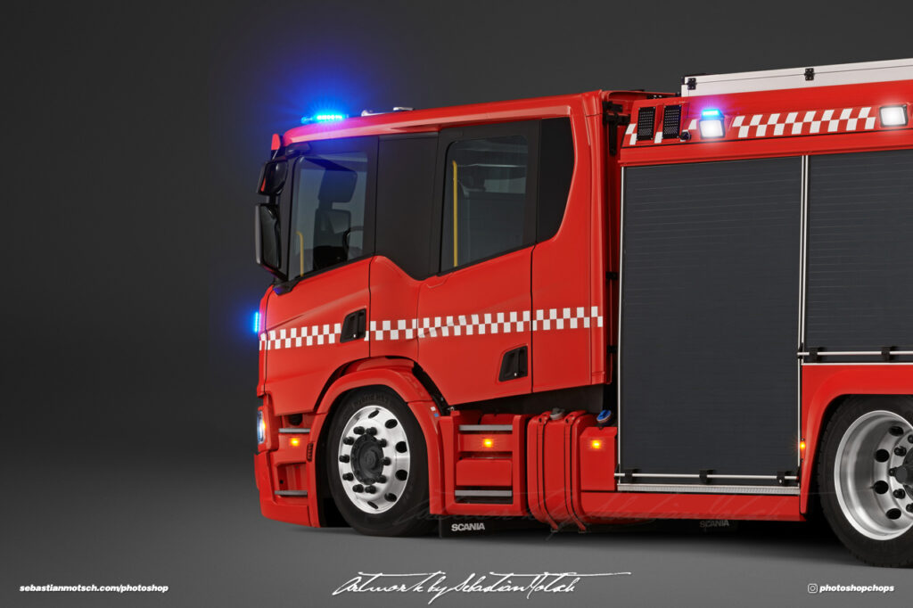 Scania P360 Crew Cab Fire Truck Photoshop by Sebastian Motsch I