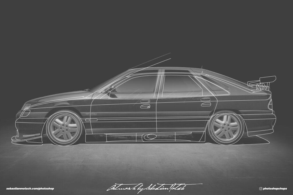 Renault Safrane Biturbo BTCC GTC Line Drawing by Sebastian Motsch