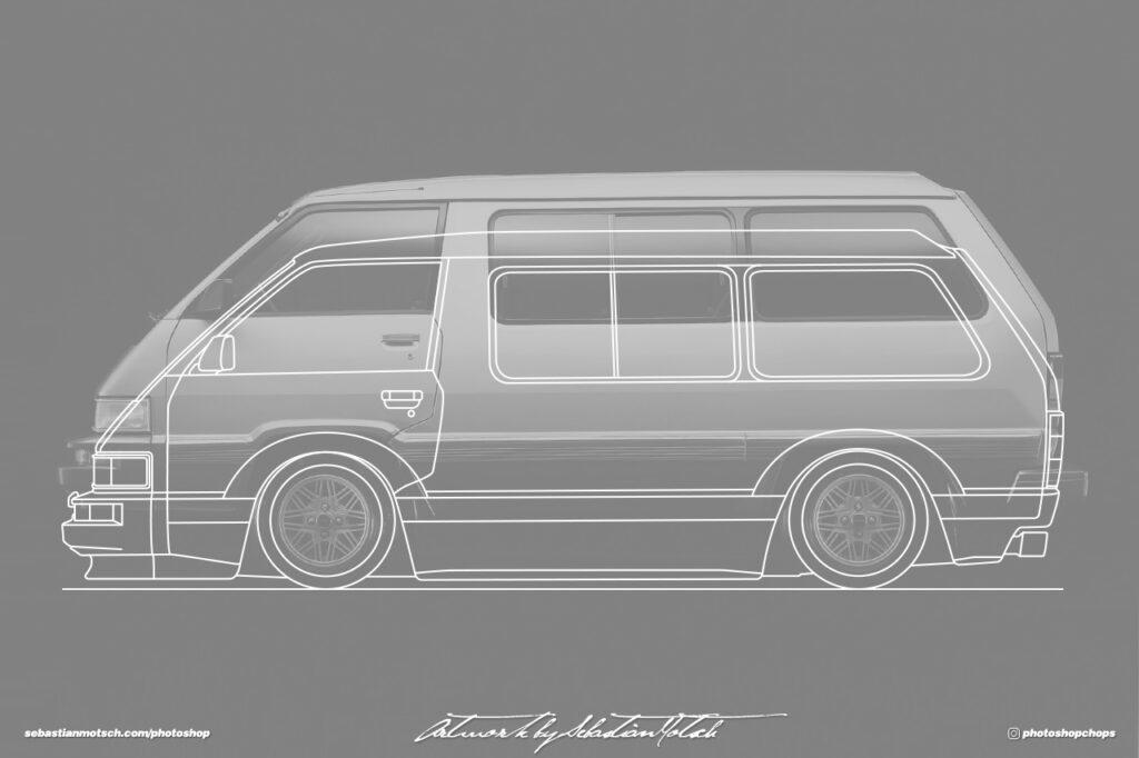 Toyota R20 Van Model-F Tarago Concept Drawing by Sebastian Motsch