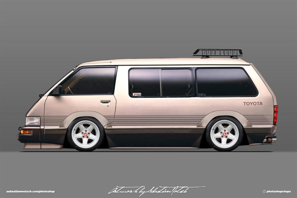 Toyota R20 Van Model-F Tarago with AMG Penta Wheels Photoshop by Sebastian Motsch