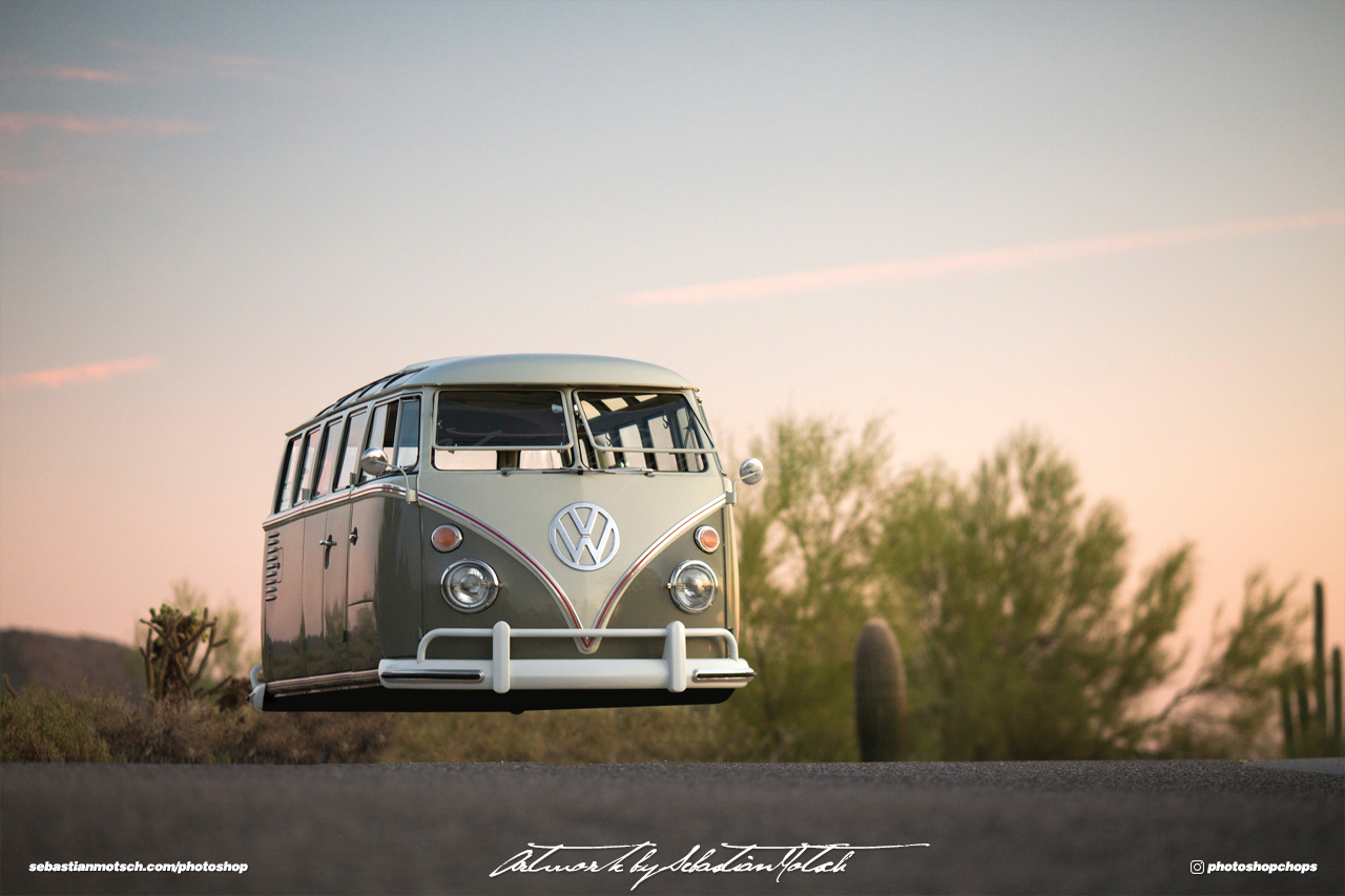 Volkswagen T1 Samba 21-window van Hovercar Photoshop by Sebastian Motsch